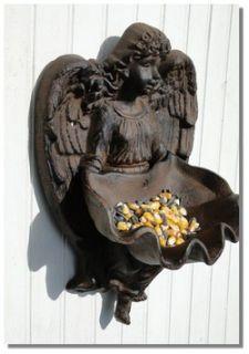 Angel Cherub BIRD FEEDER / ASHTRAY wings old cast iron rust fnsh wall