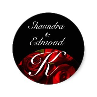 Crimson Rose Bouquet   Names/Initial [b] Round Sticker