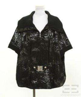 Levinson Black & Grey Shimmer Print Suede & Knit Belted Short Sleeve