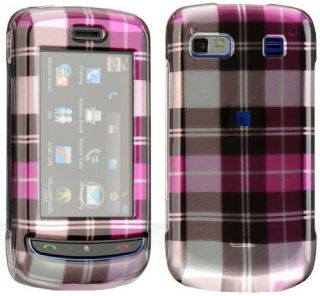New Pink Plaid Hard Case Cover for at T LG Xenon GR500 Phone
