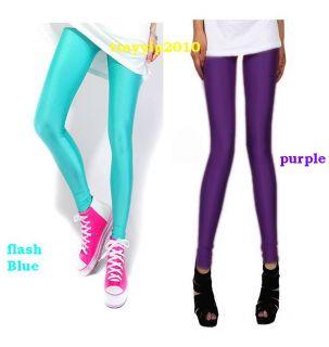 Womens Fluorescent Stretchy Neon Leggings Shiny Metallic Tight Pants