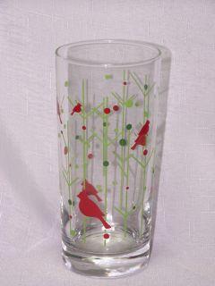 Libbey Glass 4 Christmas 15oz Red Cardinal Bird Tumblers Glasses