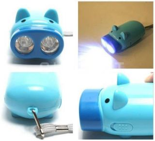 LED Pig Shape Hand Crank Dynamo Flashlight Torch Lamp