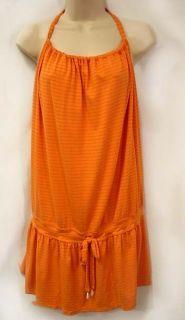 Letarte Hand Made Orange Stripe Jersey Halter Cover Up Dress Sz L