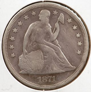 1871 Seated Liberty Silver Dollar Very Fine Details