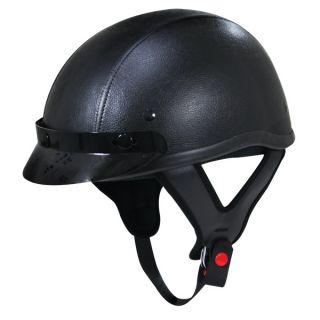 Leather Harley Style No Logo Half Motorcycle Helmet XS XXL