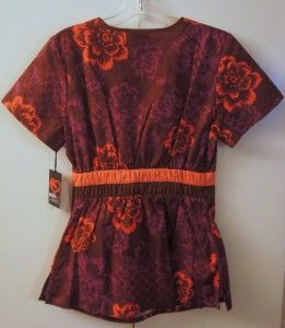 Size Small Eckored Floral Print Scrub Ecko Red Top Shirt Lexy