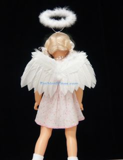 White Costume Turkey Feather Angel Wings w Headband Halo for Babies