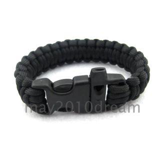 Black Paracord Survival Bracelet Cobra Bracelet Parachute Cord New