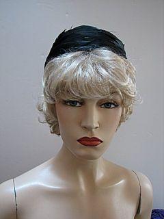 VINTAGE LADIES HAT, BLACK SWIRL FEATHER PILLBOX by Sablows FLORIDA