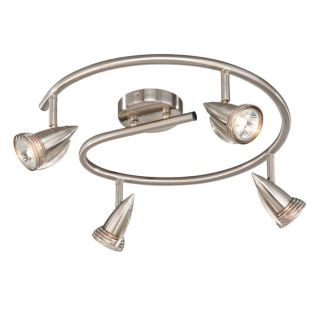 New 4 Light Track Spot Lighting Fixture Brushed Nickel Vaxcel