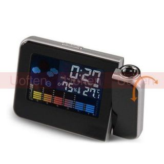 LED Light Color LCD Projection Digital Weather Thermometer Alarm Clock