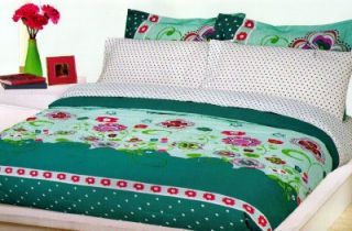 Dots Pink Green Lime Floral Comforter Sheets Bedskirt Set Twin