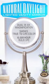 New Natural Daylight Lighted Magnifying Vanity Mirror Dual 1x 8x