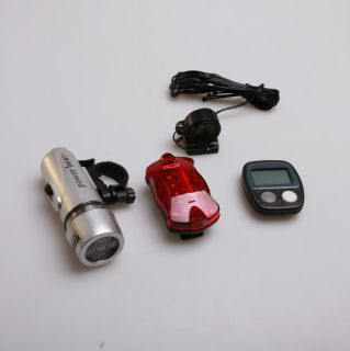 Bicycle 5 LED bike light lamp+cycle computer speedometer+torch light