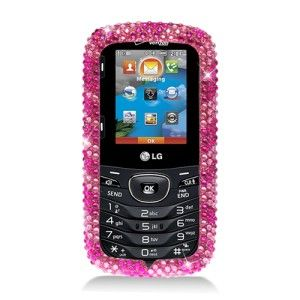 LG Beacon Cosmos Touch Pink Zebra Diamond Crystal Bling Case Mobile