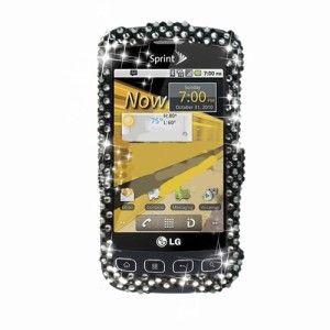 LG Optimus S, U, V LS670 VM670 Black Pearl Diamond Crystal Phone Cover