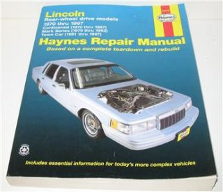 Haynes Lincoln Continental Mark Series Town Car Manual 1970 97