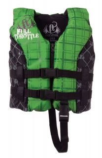 Full Throttle 4801 0068 Life Jacket Hinged Ski Vest Child Green Black