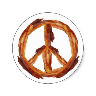 Peace Of Bacon Round Stickers