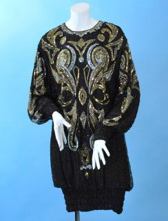 VINTAGE LILLIE RUBIN BEADED & SEQUINNED TO WITHIN INCH OF ITS LIFE