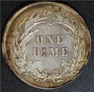 Error 1907 Barber Dime 10 Off Center Full Liberty Gold Rim Toning Some