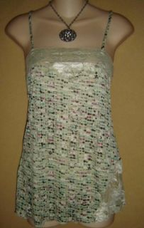 Lily White Mod Sea Foam Lace Print Cami Tunic Tank Top Shirt S