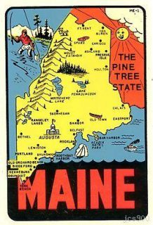 Vintage Maine Pine Tree State Lindgren Car Travel Decal