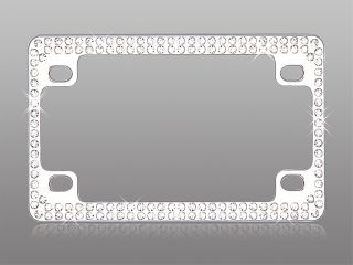 Diamante Crystal Motorcycle License Plate Frame Chrome White Diamonds