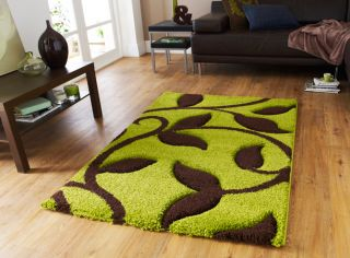 THICK LIME GREEN CHOCOLATE BROWN CARVING DESIGN SHAGGY RUG 120x170cm