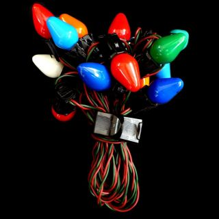 Vintage Christmas Lights with Red Green Cord 15 Multi Color C7 Bulbs
