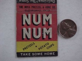 1940s WWII Era Num Num Pretzels Potato Chips Matchbook Cheese Flavored