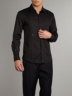 Peter Werth Long sleeve stretch cotton shirt with seam detail Black