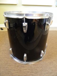 Vintage 1970s Ludwig Vistalite Black 16x16 Floor Tom Drum