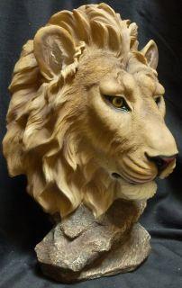 Lionel Lion Head Bust Statue Figurine DWK H16