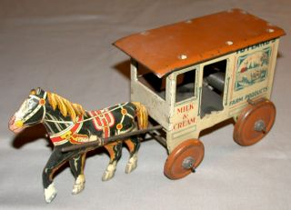 1950s US Line Mar Milk Cream Wind Up Wagon Horse