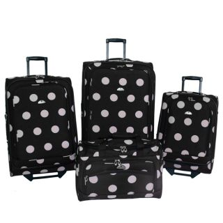 American Flyer Grande Dots 4 Piece Luggage Set Black Pink