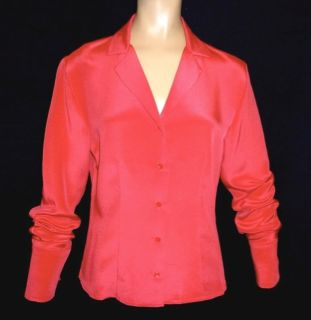 10P M * CORAL SPICE 100% SILK LIQUID SATIN BLOUSE shirt top Petite