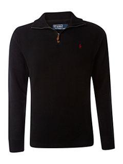 Polo Ralph Lauren Half zip fine rib sweatshirt Black