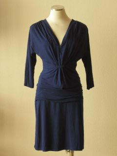 Anthropologie LINQ Navy Blue Jersey Pleated Ruched Waistband Dolman