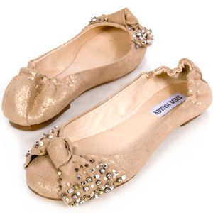 Steve Madden Kortship Gold Women Sz Leather Ballet Flat
