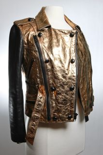 Phillip Lim Black Gold Leather Motorcycle Jacket Sz 2