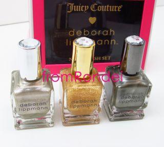 Couture Deborah Lippmann Gold Silver Pewter Nail Polish Gift Set z502