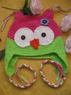 Hot Pink with Green Lime Owl Crochet Hat Newborn 20 Yrs