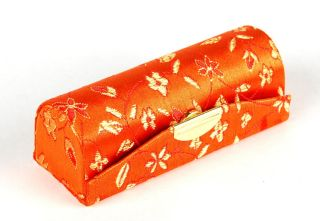 Silk Brocade Lipstick Case Orange Makeup Mirror Box