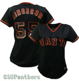 Tim Lincecum San Francisco Giants Alternate Black Womens Jersey SZ (S