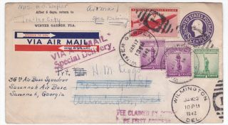Winter Garden to Wilimington de 1942 Special Delivery uprated Airmail