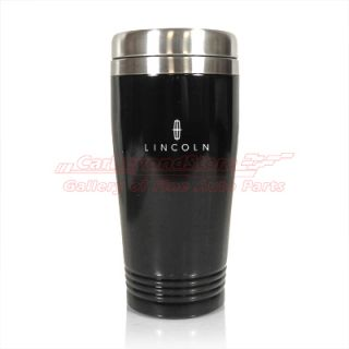 Lincoln Logo Black Stainless Steel Coffee Travel Mug, Licensed + Free