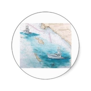 Blue Bill Catalina Island Sport Fishing Boat Round Sticker