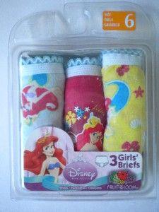 Disney Girls Little Mermaid Ariel Three Pack Underwear Panties Size 6
